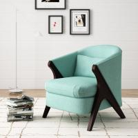 Wholesale Anchor Green Accent  Arm Chair Library Finsihed In Natural Wood Tone from china suppliers