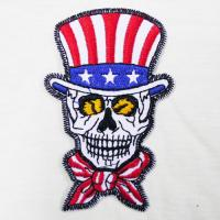 Wholesale USA American Flag Skull Top Hat Scarf Embroidered Iron on Applique Patch from china suppliers