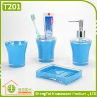 Wholesale Blue Black Red Green Top Selling Plastic Bathroom Set For Hotel Bathroom from china suppliers
