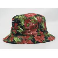 Quality Flower Printed Fishing Bucket Hat Cotton With Woven Patch Washing Label for sale