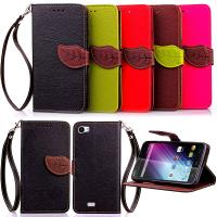 Wholesale Wiko Lenny 2 Unique Leaf design Litch phone wallet case with plastic phone holder from china suppliers