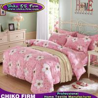Pink and Flower Design Cotton  2 Pillow Shams 1 Flat Sheet 1 Duvet Cover Bedding Sets