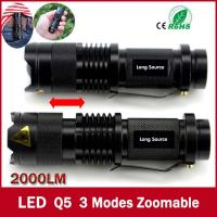 Wholesale high-quality Mini Black Brand 2000LM Waterproof LED Flashlight 3 Modes Zoomable LED Torch from china suppliers
