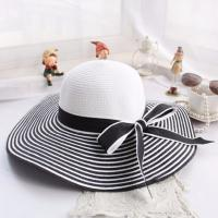 China Windproof Strap Design Women's Floppy Straw Sun Hats , Wide Brim Straw Cap on sale