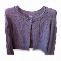 Wholesale Women's Cardigan with Long-sleeve Cable Knit on Front and Back, Made of Cotton from china suppliers