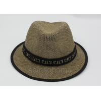 Summer Man Straw Fishing Bucket Hat Cap Brown 58cm With Ribbon