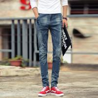 Wholesale Mens Light Blue White Printed Denim Jeans With Tapered Legs Skinny Fitting from china suppliers