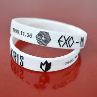 Quality Embossed with color silicone bracelets wristband for sale