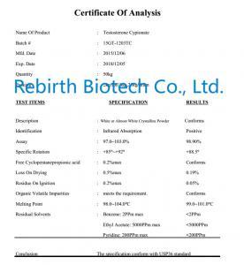 Quality CAS 58-20-8 Test Cyp Raw Testosterone Powder / Testosterone Cypionate 99% High Purity for sale