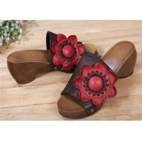 Wholesale Cowhide Leather Upper Comfortable Clogs And Mules With Big Sun Flower Decorations from china suppliers