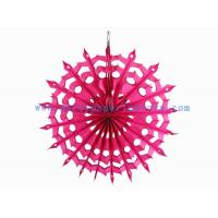 Wholesale Tissue Paper Fans For Weddings , 12 Inch Fuchsia , Pink Paper Hanging Fans For Window Dressing from china suppliers