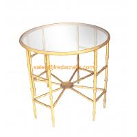 Wholesale Top-selling Bamboo iron Design Metal Frame Hand Foil Finish Mirror Top Coffee table from china suppliers