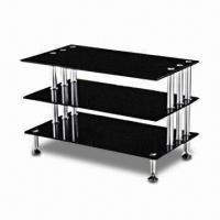 Wholesale TV Stand with Black Tempered Glass, 8mm MDF and Aluminum Frame Tube from china suppliers