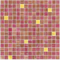 Wholesale Pink color with real gold waving tile 20mm glass mosaic mix patter decoration from china suppliers