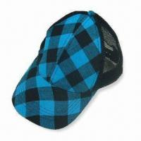 Wholesale 57cm Ladies Baseball Cap with Check Fabric and Mesh from china suppliers