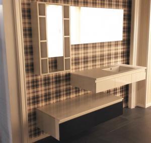 Buy cheap Floating Vanity Big Mirror Bathroom Vanity Cabinets Quartz Stone Countertop from wholesalers