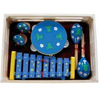 Wholesale Kawai Kids Musical Instrument With Wooden Box Outfit Four Pcs Simple Percussion Toy from china suppliers