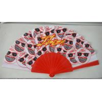 Quality Promotional Heat Transfer / Silk Printing Plastic Folding Hand Fans With Customer Logo for sale