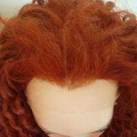 Wholesale Red Color Curly Kanekalon Fiber Lace Front Wigs Natural Hairline from china suppliers