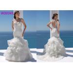China Packet Hip Sheath Sleeveless Lace Fishtail Wedding Dress Beading Ruffled for sale