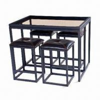 Wholesale Dining Set with Handcraft Paint, 8mm Top Toughened Glass and PVC Cushion from china suppliers