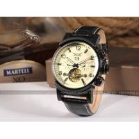 Jaragr New Fashion Mens Automatic Watch Black Leather With White Dial