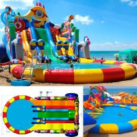 Wholesale 10m diameter Water Pool Inflatable Water Park with giant water pool and water slide Design can be Customized from china suppliers