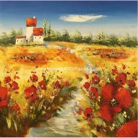 China Heavy Impasto  Palette Knife  Painting Floral Poppies Handmade Thick Oil on sale
