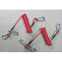 Wholesale Carabiners red color coiled cable tool lanyard tether short and strong cord made of PU from china suppliers