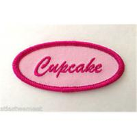 Wholesale Cupcake Oval Name Tag Patch Iron On Applique Badge Pink from china suppliers