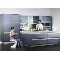 Wholesale Wooden Frame Blue Lacquer Finish Kitchen Cabinets With Frost Glass Doors from china suppliers
