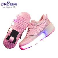 Wholesale Girls Fabrics LED Casual Shoes Kids Led Light Up Skate Roller Shoes from china suppliers