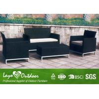 Wholesale Black Patio Outdoor Furniture 4PCS Rattan Sofa Set 12mm Thickness from china suppliers