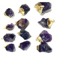 Wholesale High Polished Sliced Purple Agate Stone With 18k Gold Plating For Gemstones Bracelet from china suppliers
