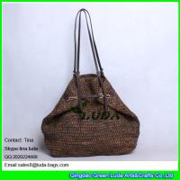 Wholesale LUDA buckle handbags dark brown hand crochetting raffia straw bag from china suppliers
