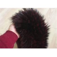 Wholesale Extra Long Pile Real Raccoon Fur Collar Scarf Wine Color With Button Holes from china suppliers