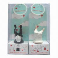 Quality Bride and bridegroom shaped bottle stopper in gift packing (wedding gift) for sale