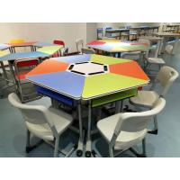 Wholesale Colourful Six Joint Student Desk And Chair Set PVC Edge For Training Room from china suppliers