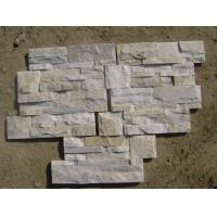 Wholesale Off-White Quartzite Thin Stone Veneer,Ivory Quartzite Culture Stone,18x35 S cut Stone Cladding from china suppliers