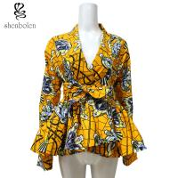 Wholesale Ruffle Hem Belt African Print Tops For Spring / Autumn Long Sleeve Yellow Color from china suppliers