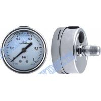 Wholesale Stainless steel connector welding pressure gauge filled oil with shrink bayonet bezel from china suppliers
