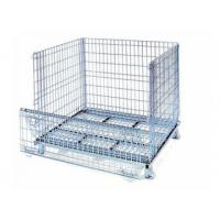 Quality Supermarket stacking foldable secure storage metal cage with wheels for sale