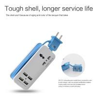 Wholesale USB Hub Portable Charging Station Travel Charger with 4-Port USB & Universal Power Socket from china suppliers