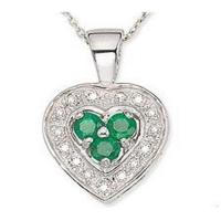 Wholesale Emerald & Diamond Heart Pendant from china suppliers
