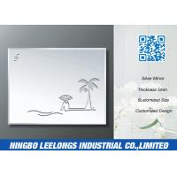 Wholesale Simple Carving Silver Bathroom Mirror With Coconut Tree Beach Pattern from china suppliers