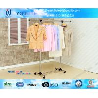 Wholesale Metal Pipe Portable Clothes Hanger Rack with Wheels , Commercial Clothing Display Racks from china suppliers