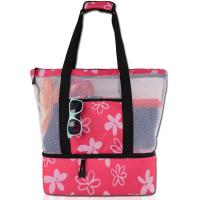 Wholesale Embroidered Net Shopping Bag , String Net Bags Floral Printed Machine Washable from china suppliers