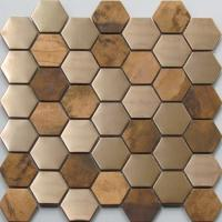 Wholesale Metallic Copper Mosaic Tile Backsplash , Hexagon Stainless Steel Subway Tile from china suppliers