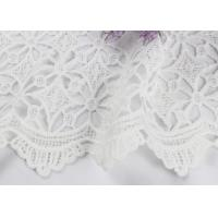 China Dubai White Bridal Embroidered Mesh Fabric By The Yard Water Soluble With Scalloped Edge on sale