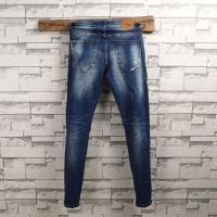 Wholesale Spandex Wrinkled Mens Slim Fit Tapered Leg Jeans Light Blue Unique Features from china suppliers